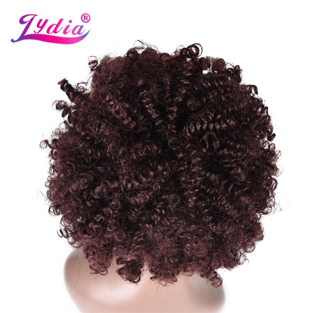 Lydia 8 polegada 99J # Cabelo Sintético Chignon Bun Curly Com Dois Pentes De Plástico Fácil Chignon Updo para Cabelo Curto penteado de casamento