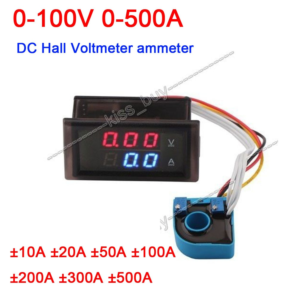 Dykb DC 0 ~ 600V 0-500A Hall voltímetro amperímetro pantalla Dual Digital LED medidor de corriente de voltaje carga descarga batería Monitor
