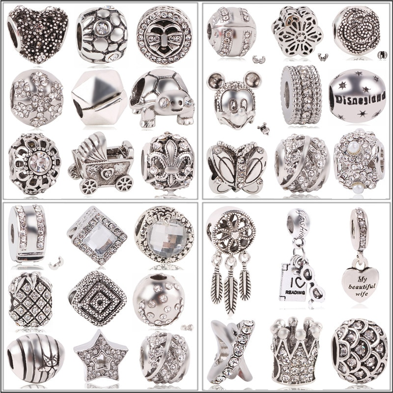 Atacado 1pc antigo cor de prata amor família mickey crown grande buraco grânulo se encaixa europeia pandora charme pulseiras jóias para o presente