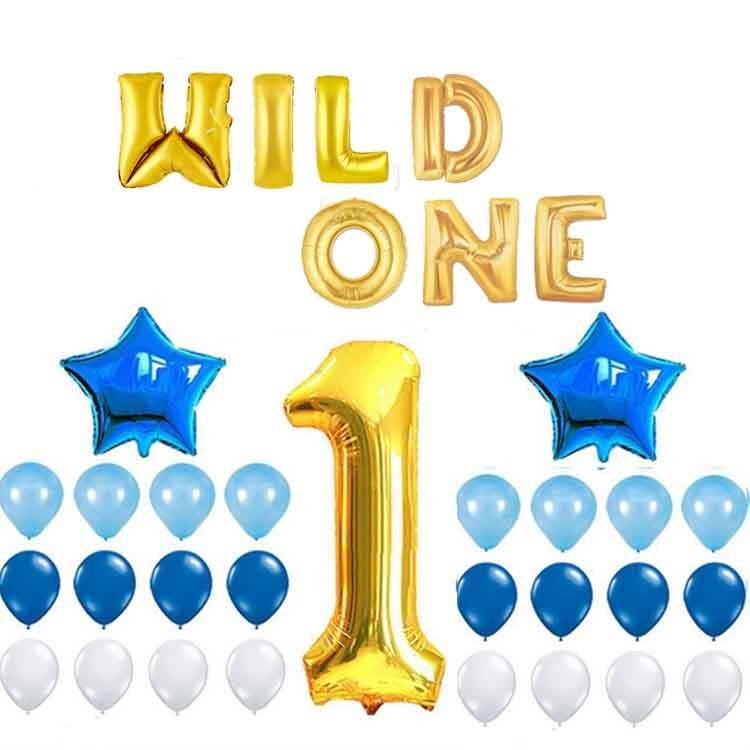 Ynaayu 34 pçs/set Wild One Birhtday 1th Ballon Aniversário Balões Folha Bebê Menino Da Menina das crianças Decoração Do Partido Balão de Ar Inflável