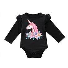 2018 New Hot Newborn Baby Boy Girls Long Sleeve Ruffle Unicorn Bodysuit Jumpsuit Cute Clothing Ruffle Outfits 0-24M