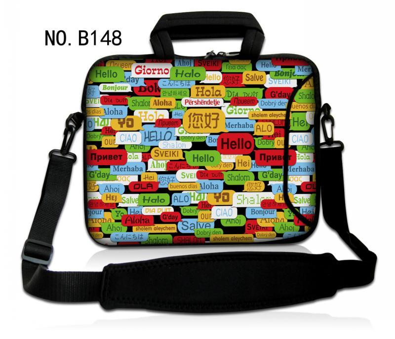 "Fashion NiHao Hello 17.3"" 15.6"" 14"" 13.3"" 11.6"" 10.1"" Laptop Sleeve Case Bag Shoulder Strap for Alienware HP"