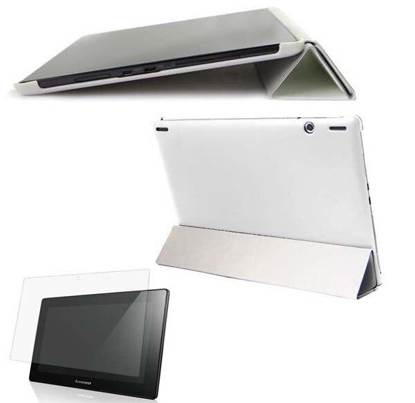 Slim soporte plegable dormir/despertar libro Funda caja de cuero para Lenovo Ideatab S6000 S6000H S6000F S6000G Tablet + claro protector de pantalla