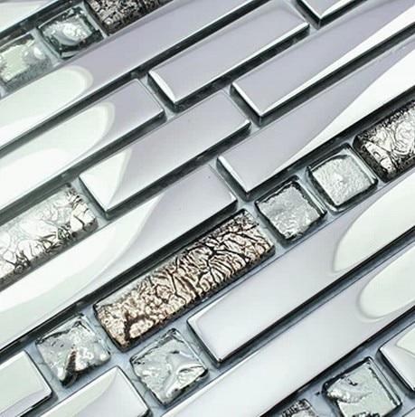 glass mixed silver stainless steel metal mosaic tile silver color gray  kitchen backsplash tiles bathroom shower hallway