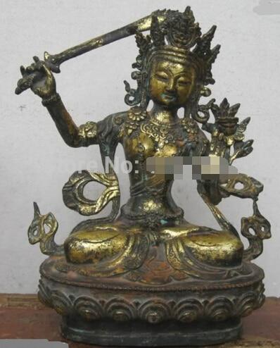 "Transporte rápido 12 ""China Budismo bronze gild Esculpido espada braço Kwan yin-estátua de Buda Escultura"