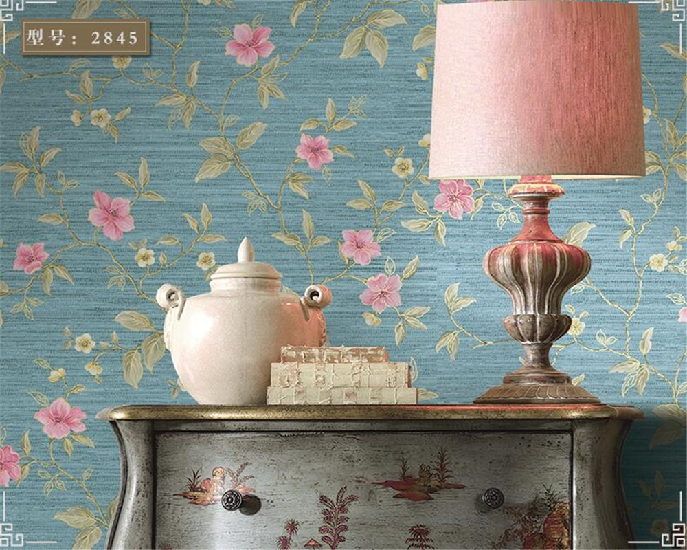 Papel pintado 3d beibehang moderno chino no tejido papel tapiz Pastoral retro floral dormitorio sala de estar entrada Fondo tapiz
