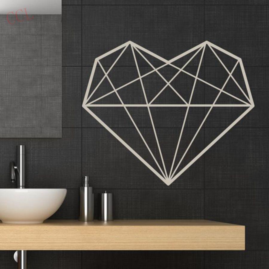 Forma de diamante decalques de vinil coração geométrico adesivo de parede arte para casa decoração moderna