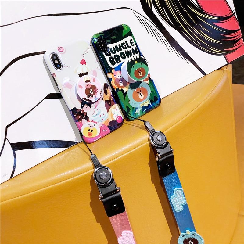 La selva oso marrón carácter animado de la cáscara del teléfono móvil del cordón cuello airbag teléfono caso para iphoneX 6S 6 7 8plus XS MAX material suave