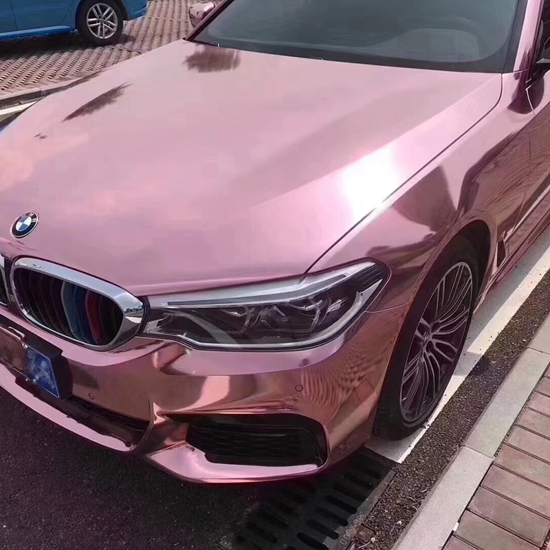 TSAUTOP 1,52x18 m Rosa oro espejo alto estirable cromo coche pegatina vinilo envoltura