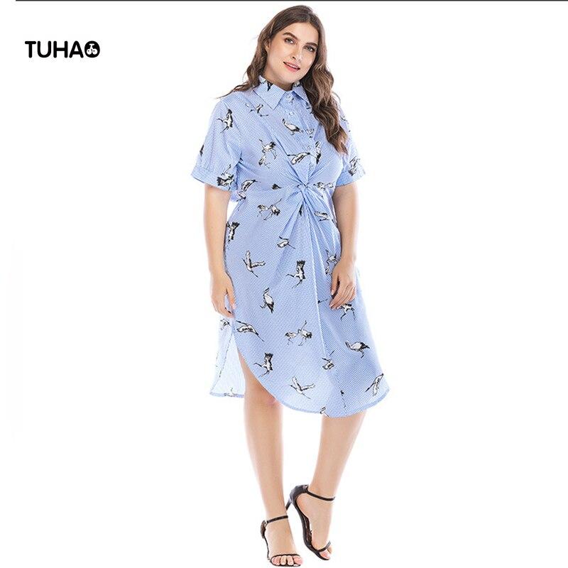 Tuhao assimétrico blusa longa feminina topos fold cintura fina guindaste imprimir azul listrado camisas 5xl plus size blusas femme tb2077