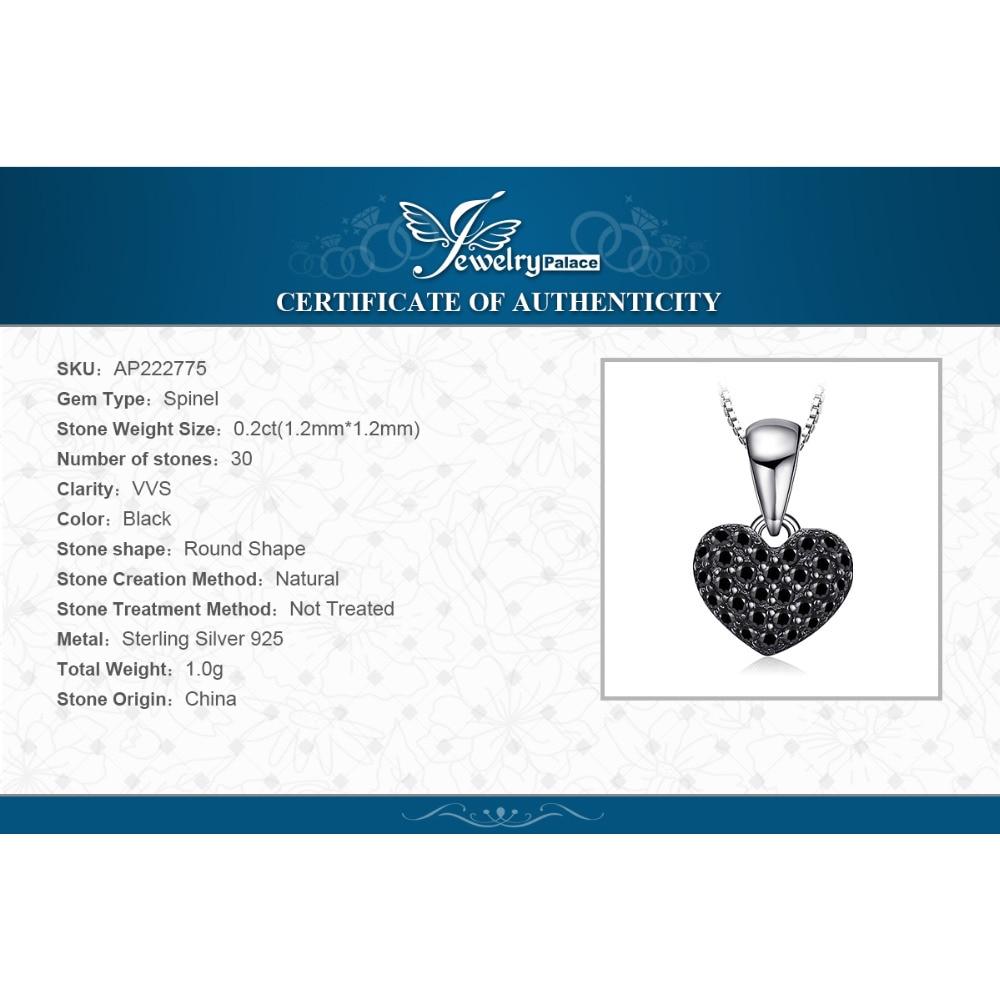 Купить с кэшбэком JPalace Heart Natural Black Spinel Pendant Necklace 925 Sterling Silver Gemstones Choker Statement Necklace Women No Chain