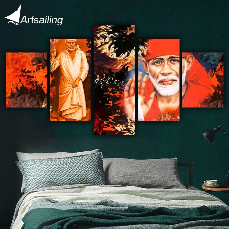 Painel de pintura da lona moderna arte da parede HD 5 Senhor Deus Hindu Shiva home decor Imagem para sala de estar impresso e arte do cartaz