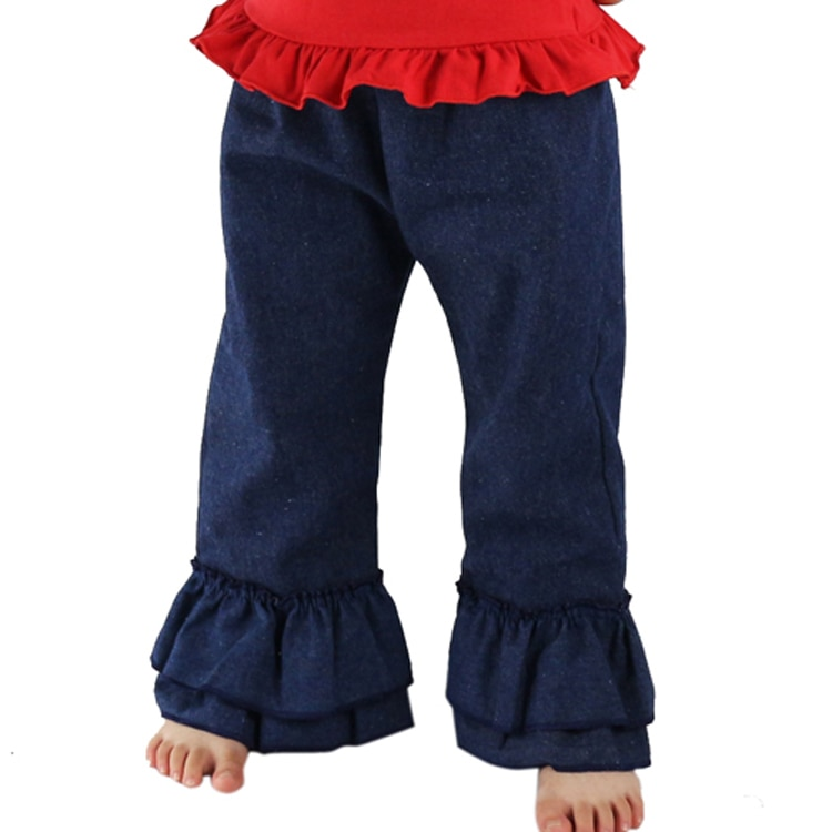 Children Denim jean Cute Girl Double Ruffles Pants Kids Pants Spring Autumn Baby Kids Long Jeans Trousers Denim Pants