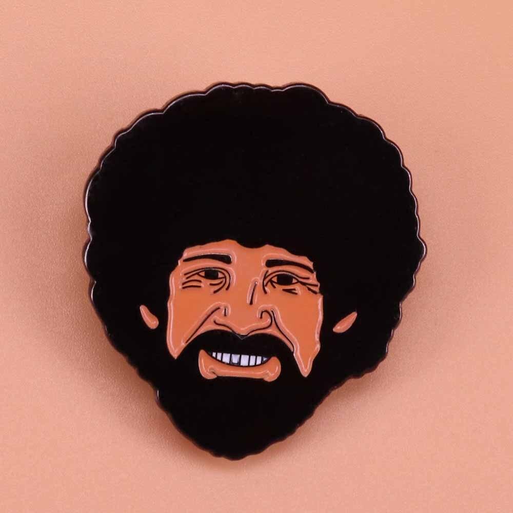 Ross enamel pin personalized big beard brooch men art badge painter jewelry cute pins artist gift women shirts jackets access