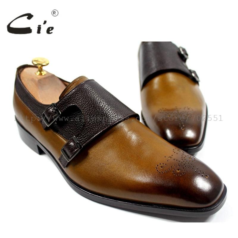 Cie квадратный носок вырез ручная роспись коричневая телячья кожа подходящая галька двойные монах ремни кожаная подошва MS24