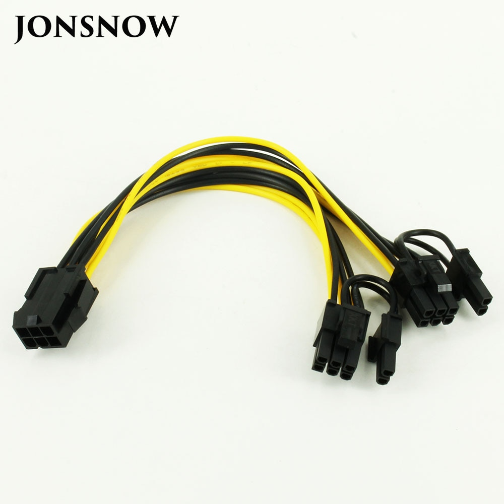 6pin to 2 8pin 6 2 pin for miner molex 6 pin pci e to 2 pcie 8 6 2 pin graphics video card pci e vga splitter hub power cable CPU 6 Pin To Graphics Video Card PCI Express Power Splitter Cable 6Pin Female Double 8Pin Male 20cm