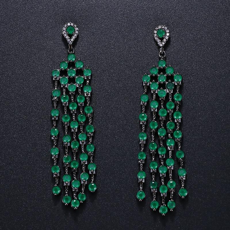 Emmaya brincos longos de luxo 3 cores, para mulheres, drop aaa, zircônia cúbica, transparente, brincos de borla, presente para festa de casamento