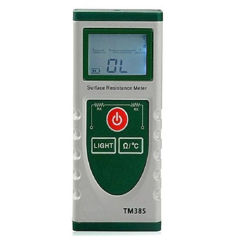 Medidor LCD de alta precisión de temperatura portátil electrostática probador de resistencia de superficie Digital TM385 de mano profesional