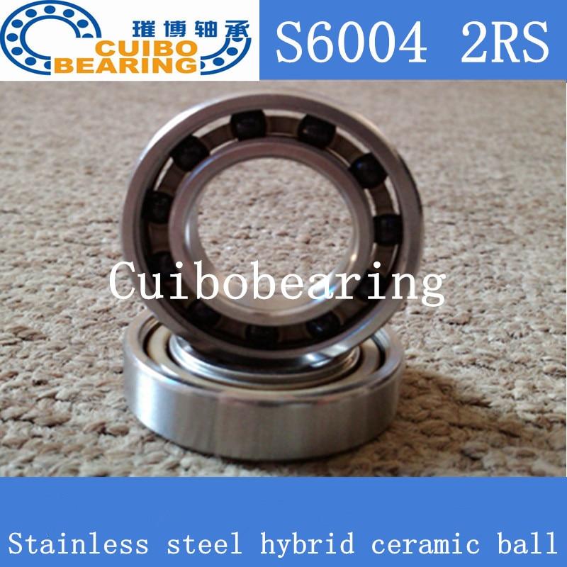6004 2RS حجم 20x42x12 الفولاذ المقاوم للصدأ الكرة السيراميك الهجين الدراجة تحمل s6004 2rs