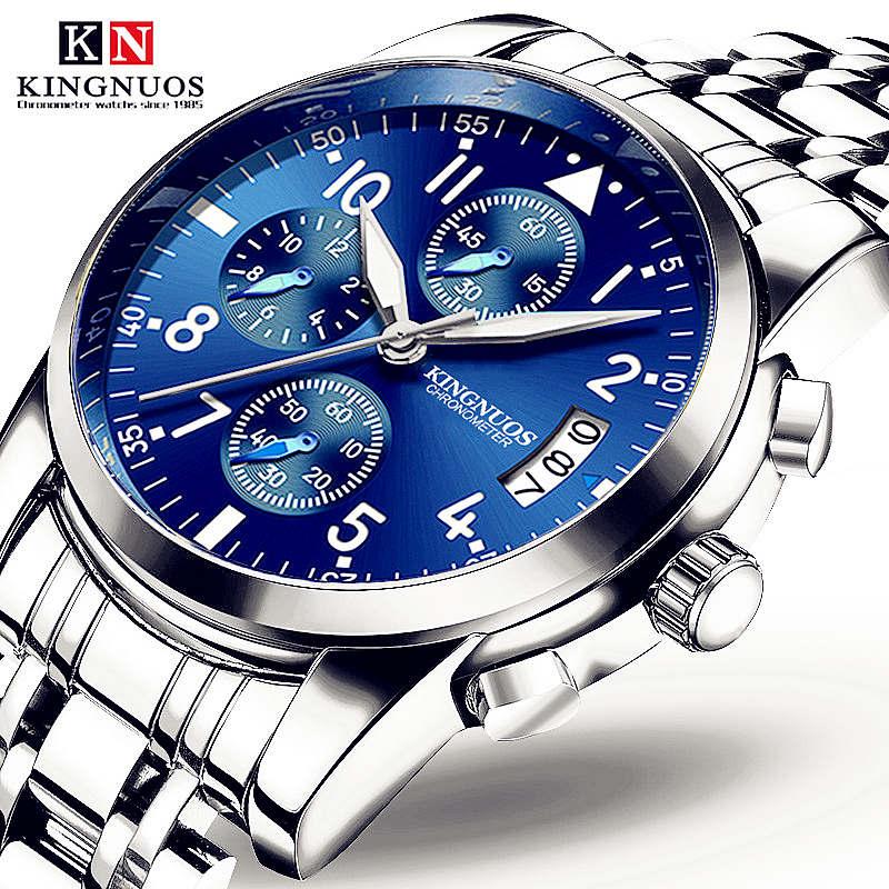 2019 relojes de lujo para hombre marca KINGNUOS relojes deportivos para hombre reloj de cuarzo de acero resistente al agua para hombre (decoración de esfera pequeña)