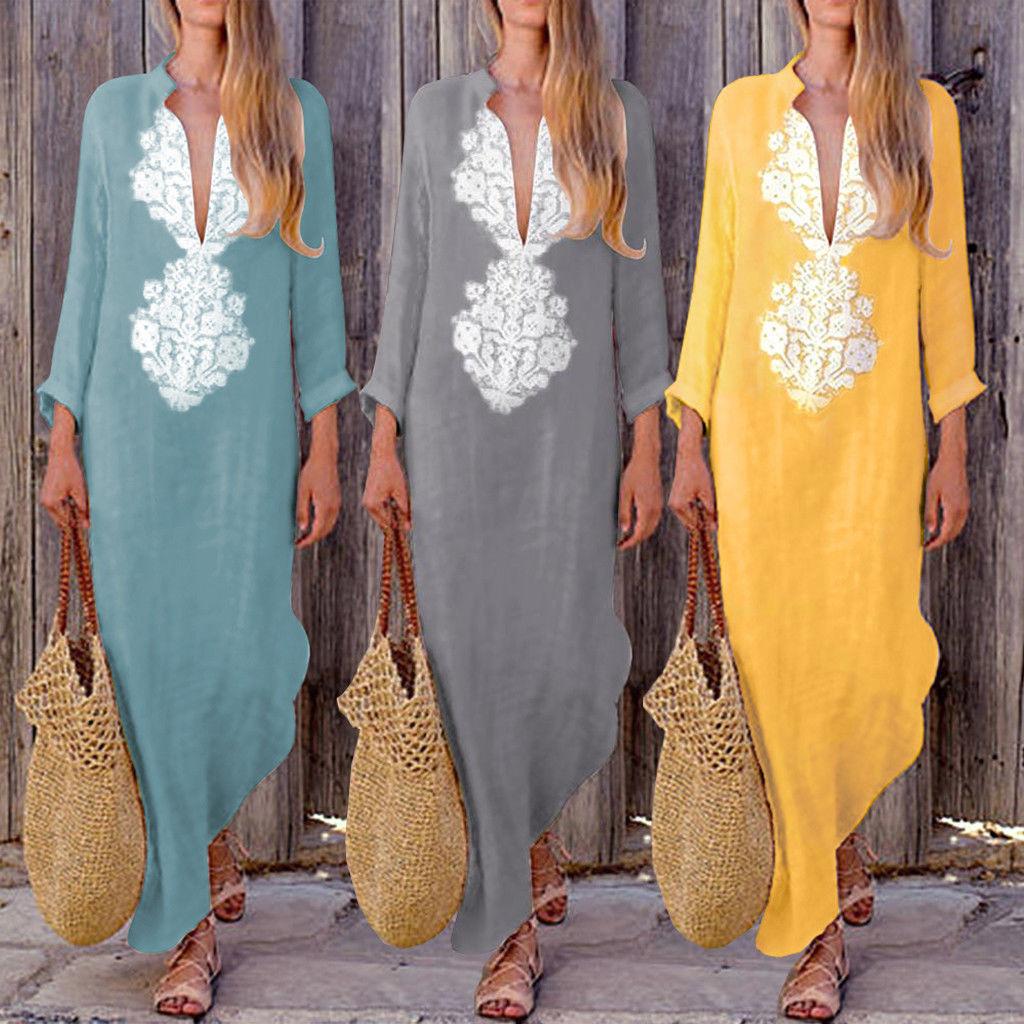 Vestido bohemio largo de noche y playa para mujer, Vestido de manga larga, estampado Floral, con cuello de pico profundo, Vintage para fiesta de verano