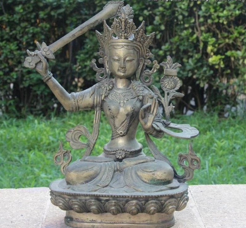 Statue du Tibet Bronze blanc argent   Manjusri hri Kwan-yin GuanYin Bodhisattva