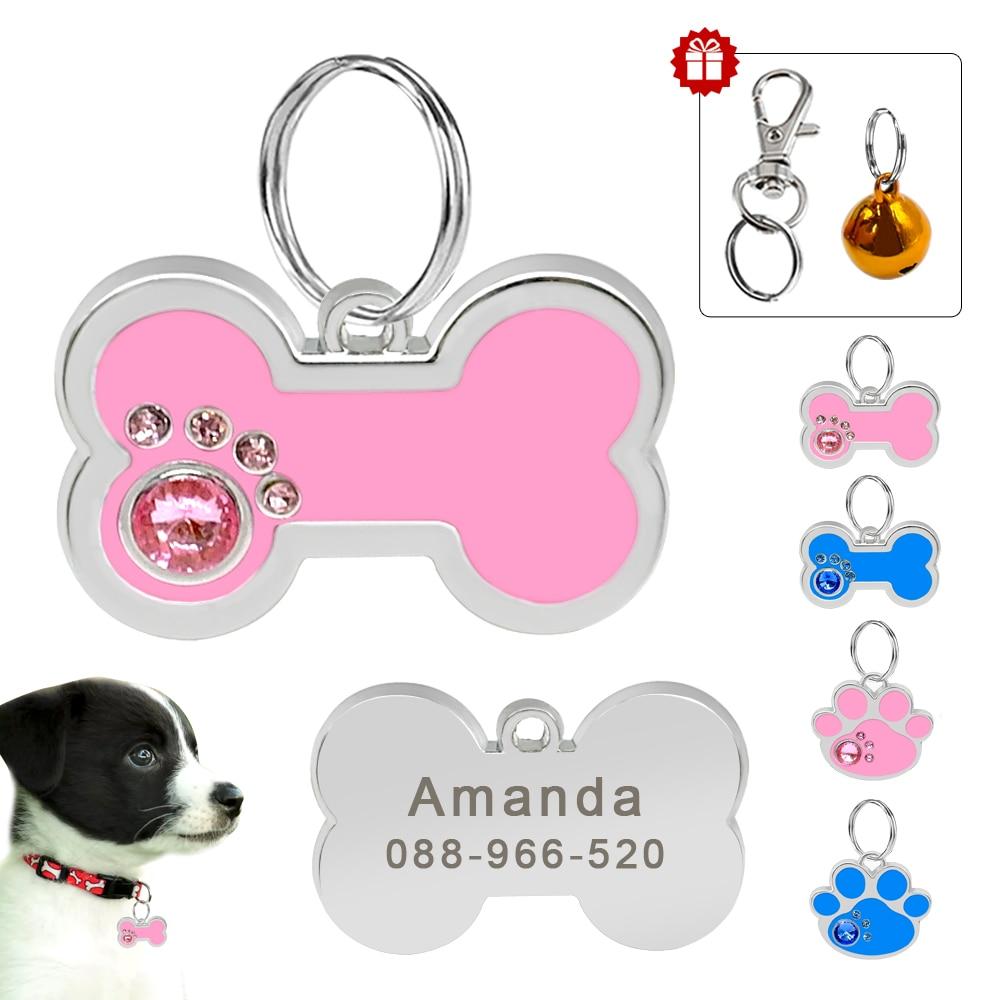 Personalized Dog ID Tag Pet Dog Accessories Customized Rhinestone Bone Paw Shape Name Tag Plate Collar Decoration