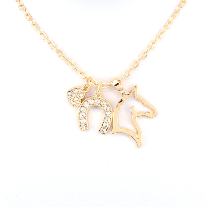 hzew heat Horseshoe horse pendant necklace three necklaces gift