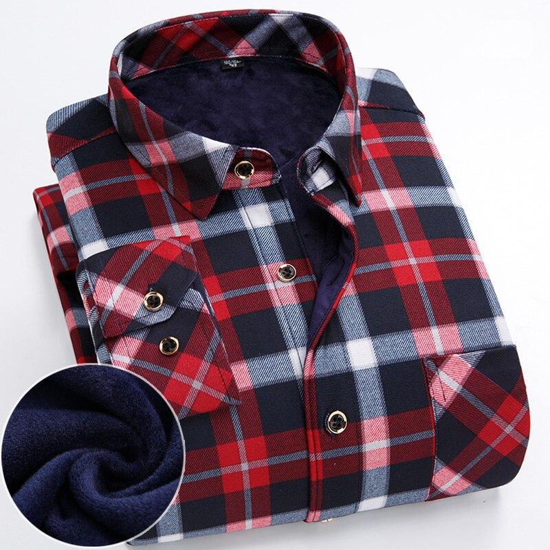 De talla grande S-7XL invierno Mens camisetas térmicas de manga larga cálido rojo y negro impreso Hombre Camisas de 7XL 6XL