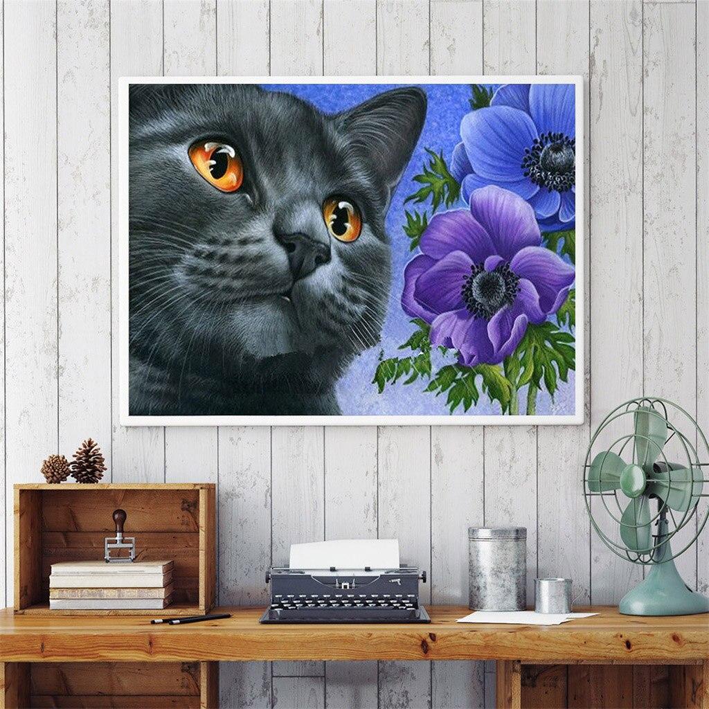 5D DIY diamante bordado negro gato ronda parcial diamante pintura flor Anmial punto de cruz diamante cristal pintura de pared regalo