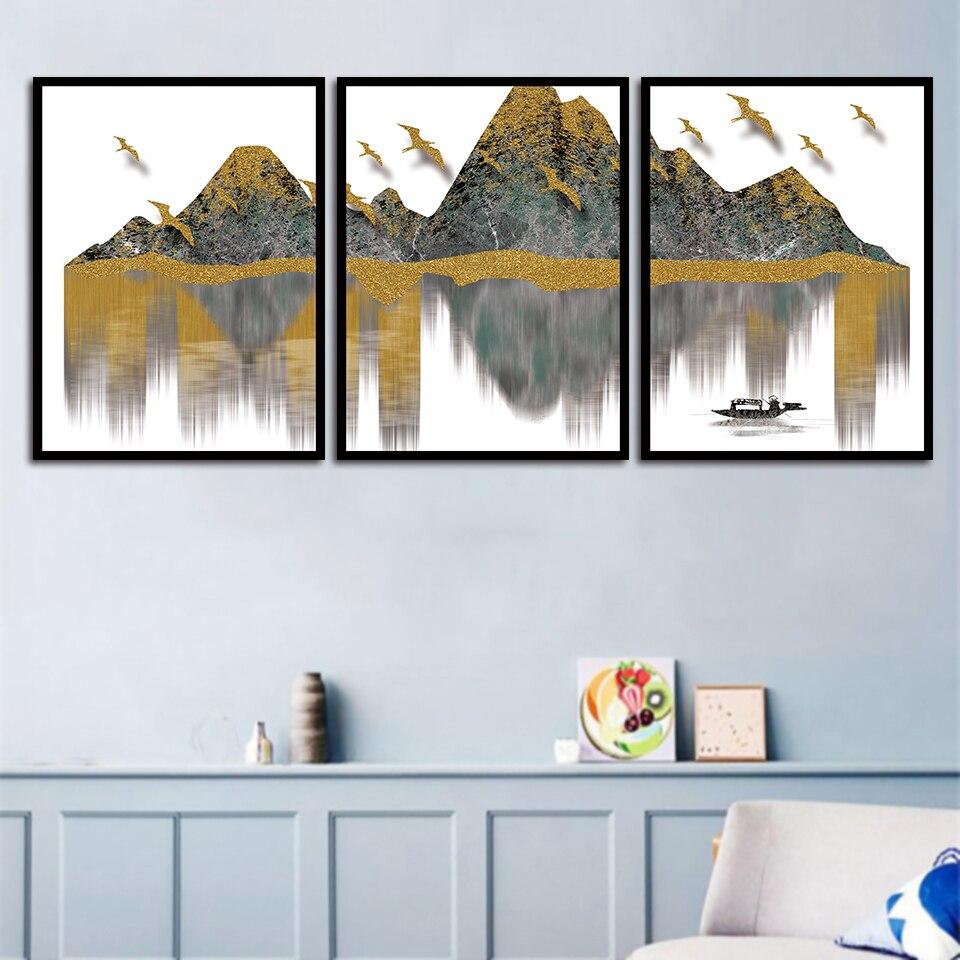 Lienzo nórdico A4 pintura grava dorada montaña lago pájaro paisaje imágenes impresión arte moda cartel hogar sala de estar decoración de la pared