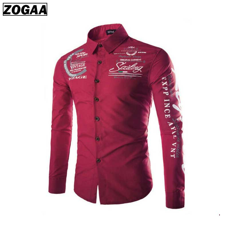 Features Shirts Men Casual Jeans Shirt Print New Arrival Long Sleeve Slim Fit Male Business ZOGAA