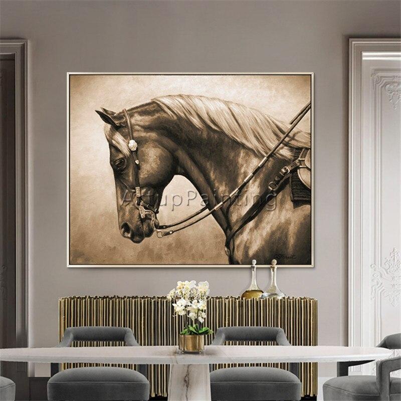Pintura da Lona Acrílica Pintura Animal Caudros Decroracion Cavalo Abstrata Wall Art Pictures For Living Room Home Decor Quadros9
