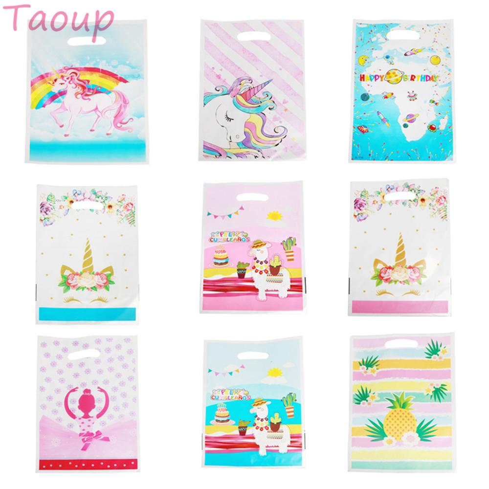 Taoup 10pcs Pink Flamingo Unicorn Plastic Gift Bags Wrapping Supplies Horns Unicorn Party Decor Happy Birthday Llama Candy Bags