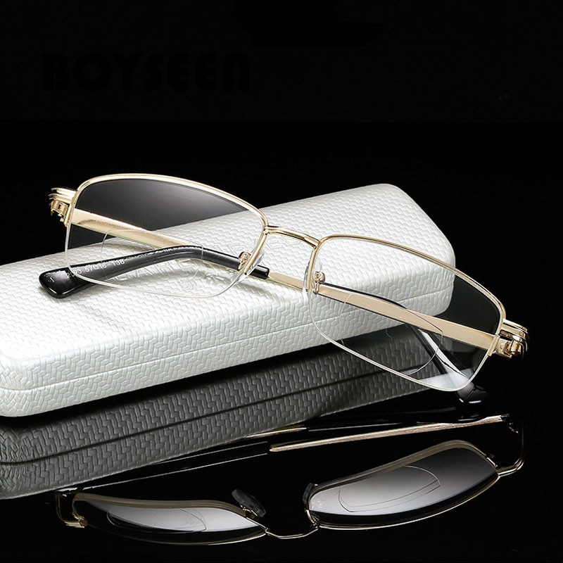 Gafas de lectura de borde completo para hombre, gafas ópticas metálicas para miopía presbicia, gafas dioptrías 1,0 1,5 2,0 2,5 3,0 3,5 4,0 2003
