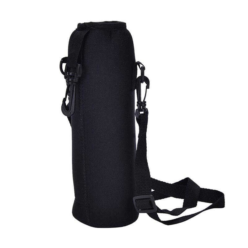 Funda tipo bolsa para botella de agua de 1000ML, bolsa de neopreno para botella de agua con correa, bolsa aislante, funda cartuchera, correa para el hombro, negra