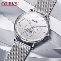 OLEVS Men Watch 2018 New relogio masculino Steel Mesh belt Genuine leather Auto date Week waterproof Thin Fashion Clock saat