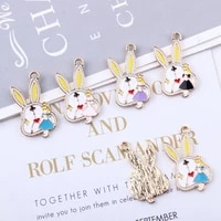 10pcs girls alice rabbit clock enamel charms 1628mm animals alloy pendants floatings bracelets diy jewelry accessories yz486