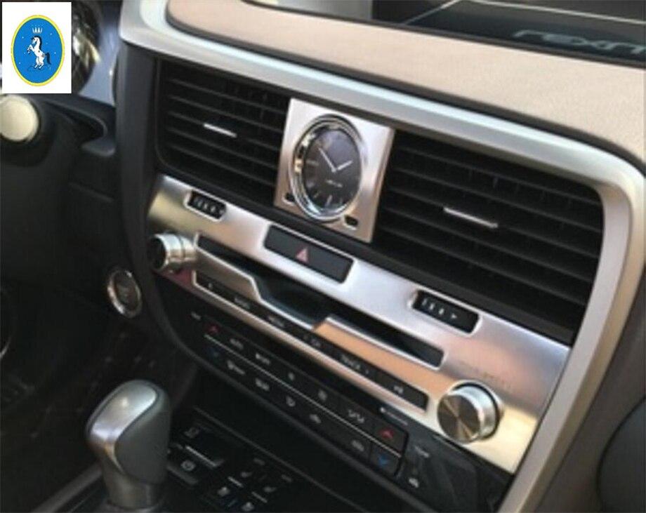 Molduras interiores yimaautotems para Lexus RX RX450h 2016 2017 2018 2019 2020 Control Central de Metal CD Panel recortado