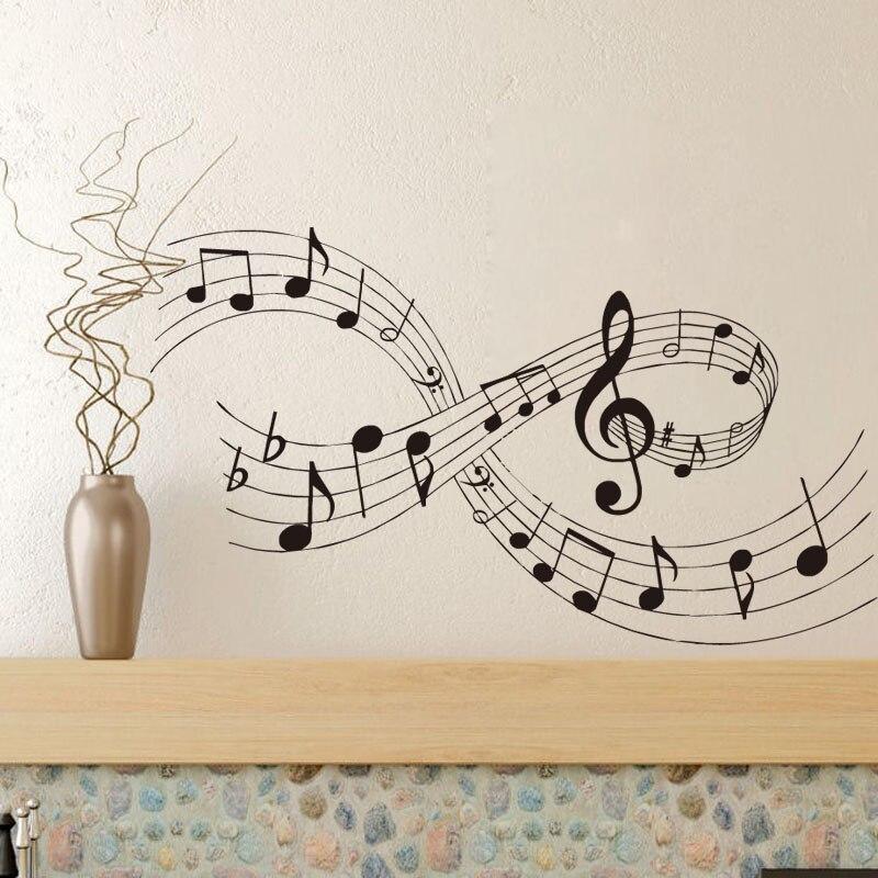 Home Verbesserung Wand Aufkleber Für Wohnzimmer Musik Wand Kunst Abziehbilder Musical Notes Schlafzimmer Decor