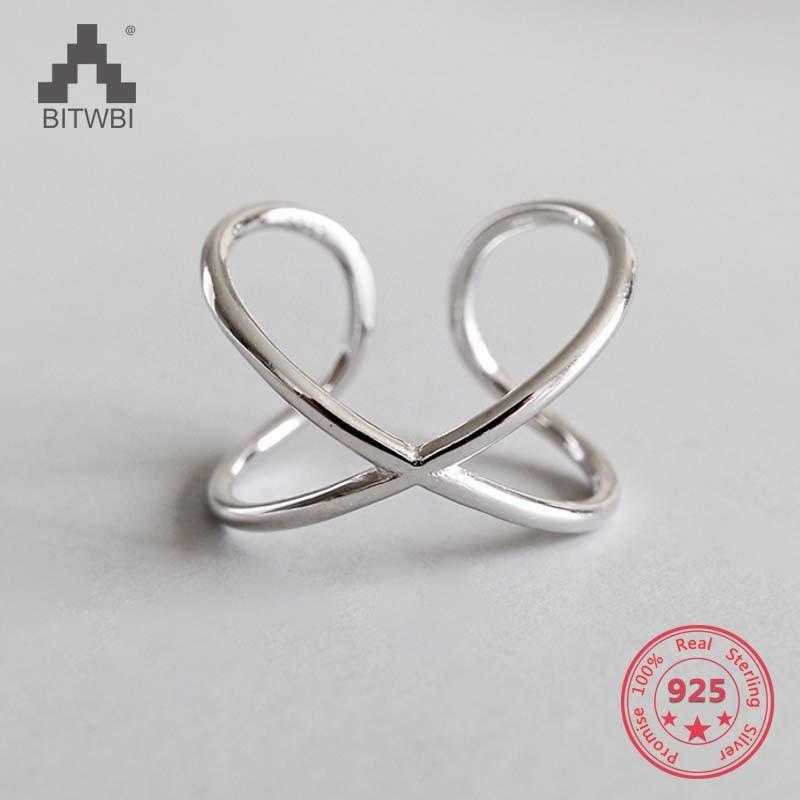 Anillos de apertura de doble línea de Plata de Ley 925, elegante anillo de cruz, joyería para anillo ajustable de aniversario