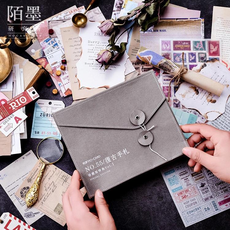 56/set Retro Paper Sticker with Postcard Stationery Envelope Sticky Note Set for DIY Album Decoration Scrapbooking Planner