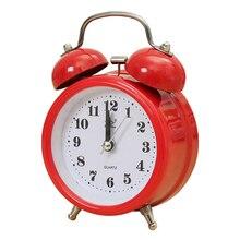 Horloge à Double cloche silencieuse   Portable, tendance classique, alarme Quartz mouvement veilleuse de chevet bonne qualité rouge