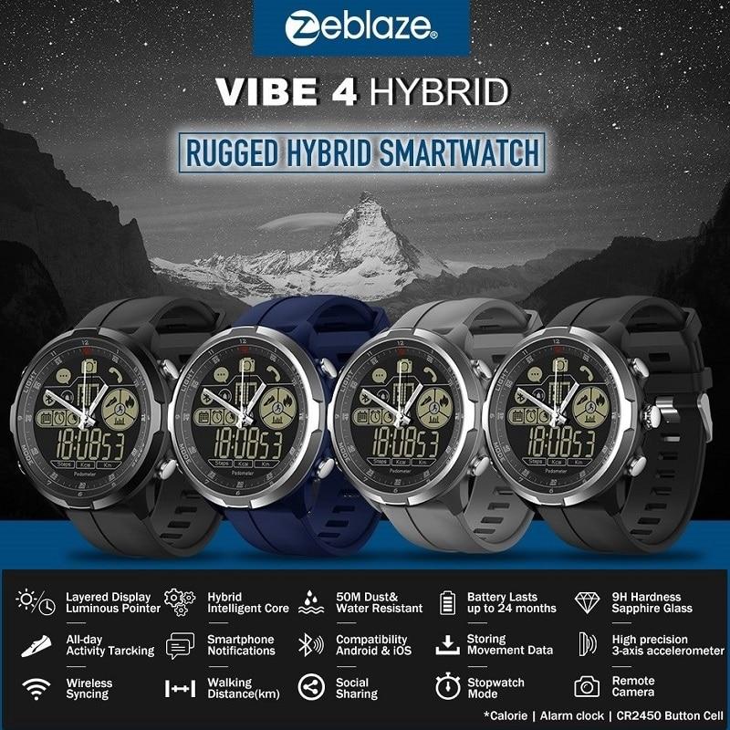 Nuevo reloj con cristal de zafiro inteligente híbrido Zeblaze VIBE 4 Original reloj con cristal de zafiro robusto híbrido reloj inteligente 50m resistente al agua 33 meses de tiempo de espera
