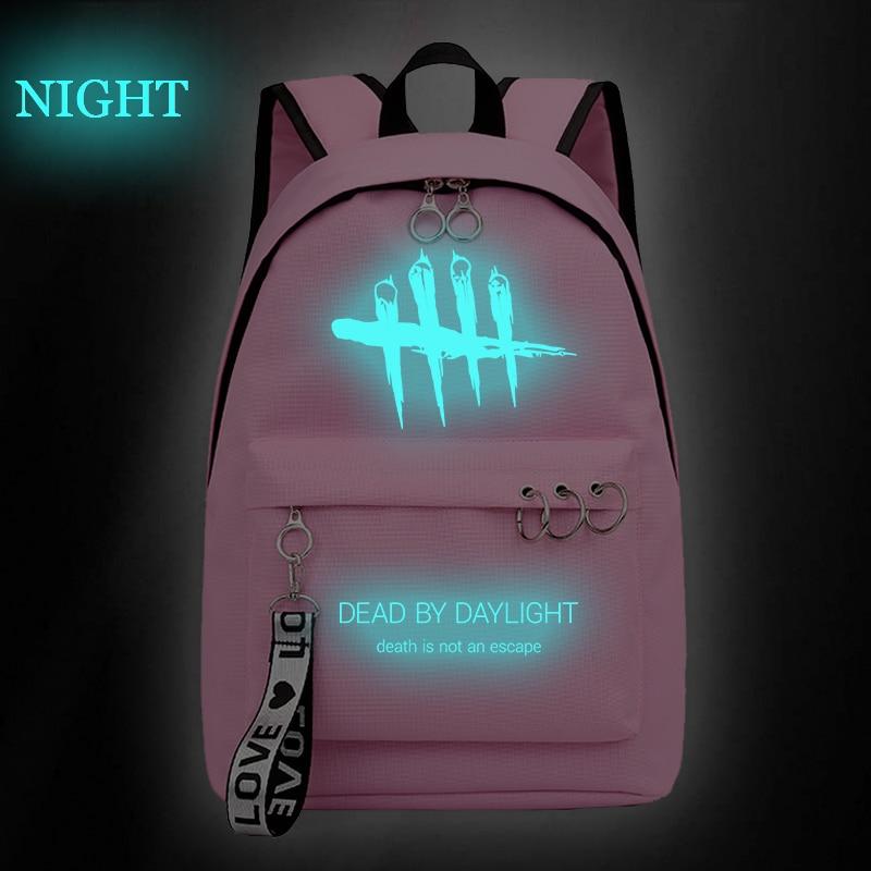 Women's Backpacks for Boys Girls School Bags Black Pink Dead by Daylight Backpack Purse Zipper Travel Bagpack Knapsack Sac A Dos