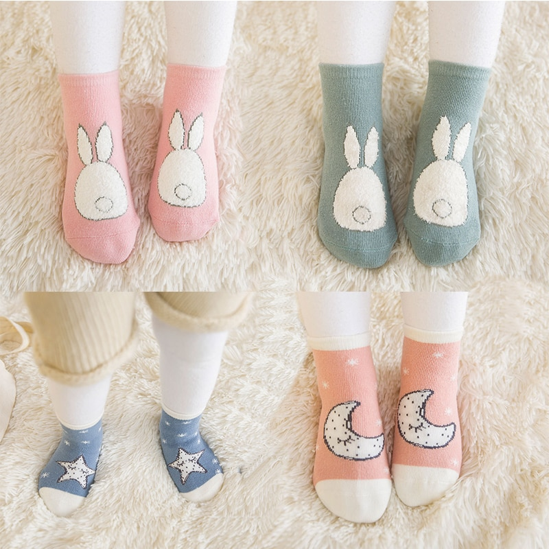 2 par/set transpirable calcetines de algodón para niña niños tobillo calcetines NIÑOS Calcetines DE LOS NIÑOS Calcetines estrella Luna conejo 1 a 5 años