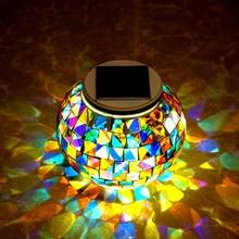 RGB Table veilleuse lumière solaire alimenté mosaïque boule de verre jardin lumières étanche extérieur solaire pelouse lumière pour Garden Party