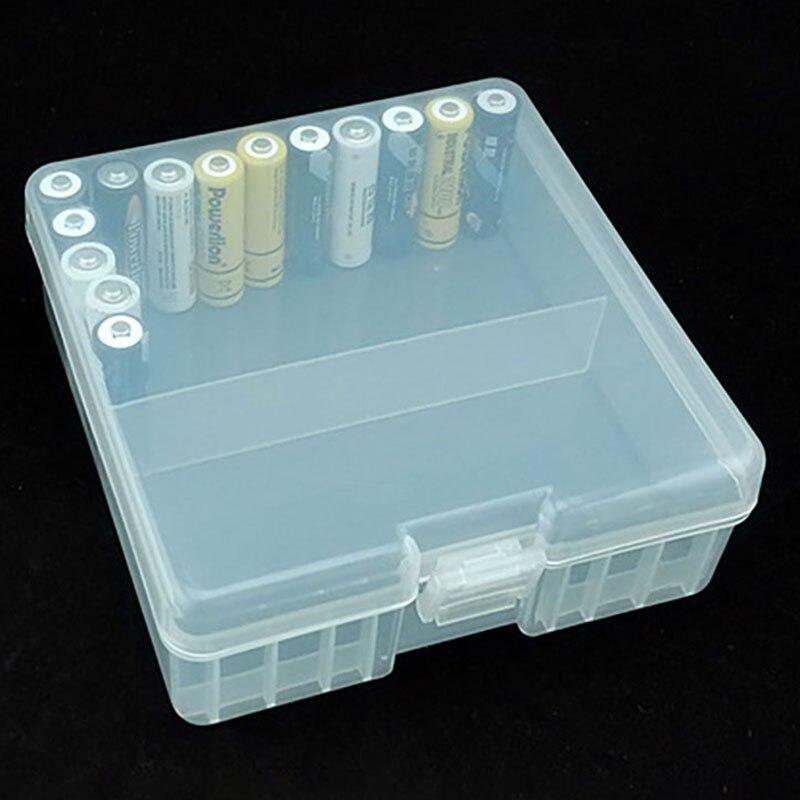 1PCS Portable Battery Holder Organizer for 100pcs AA Batteries 14500 Battery Case Cover Holder Storage Box Plastic Transparent