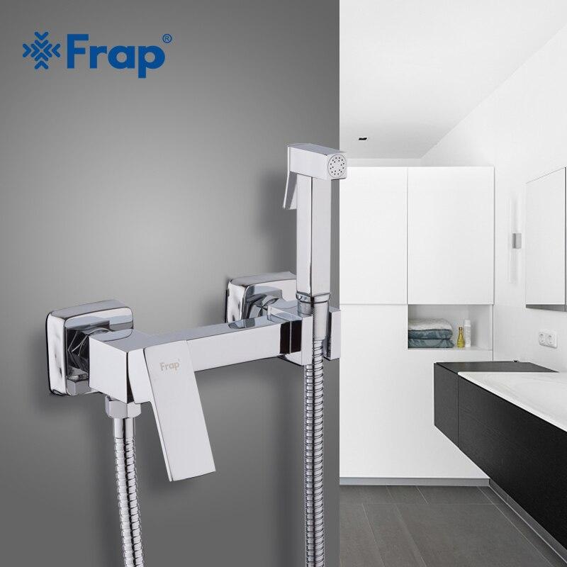 Frap-دش يدوي من الكروم النحاسي الصلب ، مجموعة دش بيديت محمولة مع صنبور مياه ساخنة وباردة ، F7504