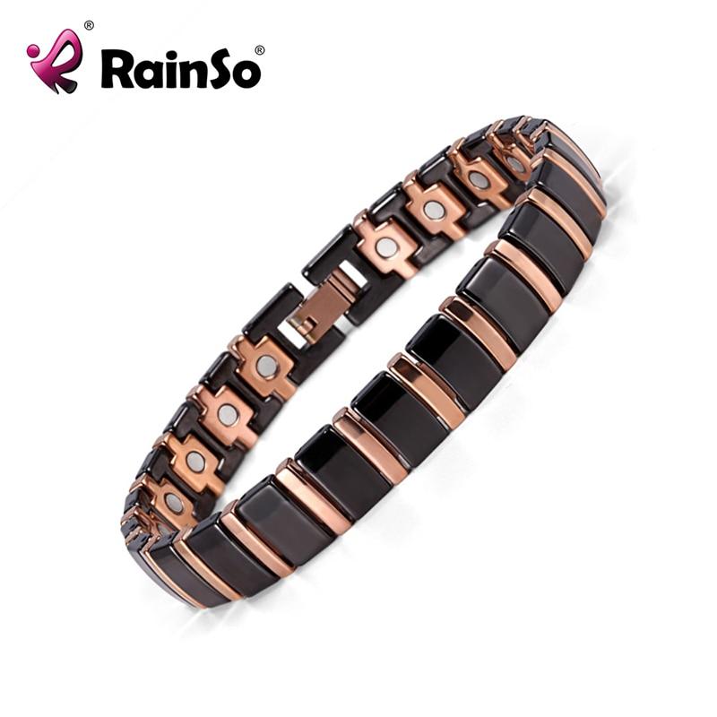 Rainso Bio Energy Magnetic Health Bracelet Men Jewelry Black Ceramic Bracelets Fine Jewellry Bangle Pain Relief  Bracelet